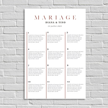 Plan table mariage Cachet Moderne
