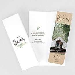 Carte remerciement mariage champêtre Cadre Feuillage