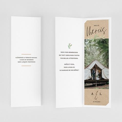 Carte Remerciement Mariage Champêtre Cadre Feuillage gratuit