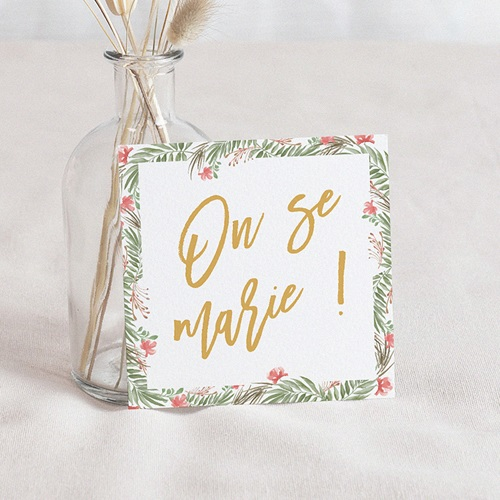Save The Date Mariage Couronne Tropicale, 10 x 10