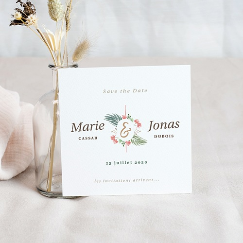 Save The Date Mariage Couronne Tropicale, 10 x 10 pas cher