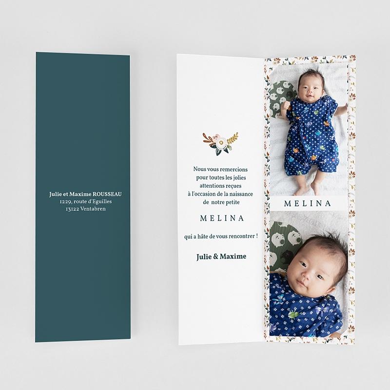 Carte Remerciement Naissance Fille Mille Fleurs gratuit