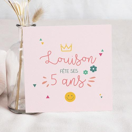 Carte Invitation Anniversaire Enfant Princesse Girly Carré