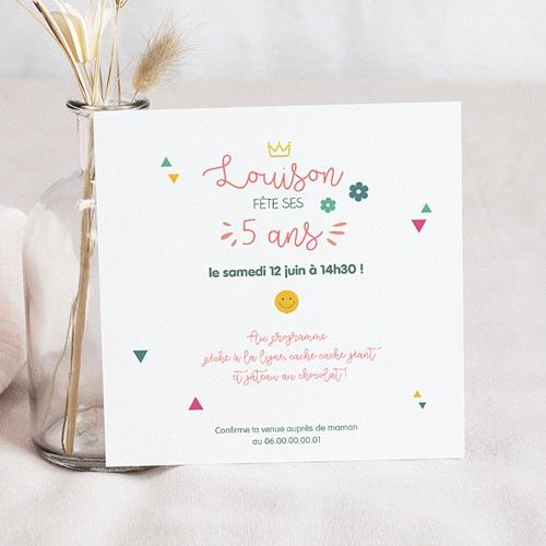 Carte Invitation Anniversaire Enfant Princesse Girly Carré pas cher