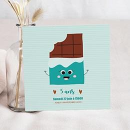 Carte Invitation Anniversaire Enfant - Chocolat Show Carré 80644