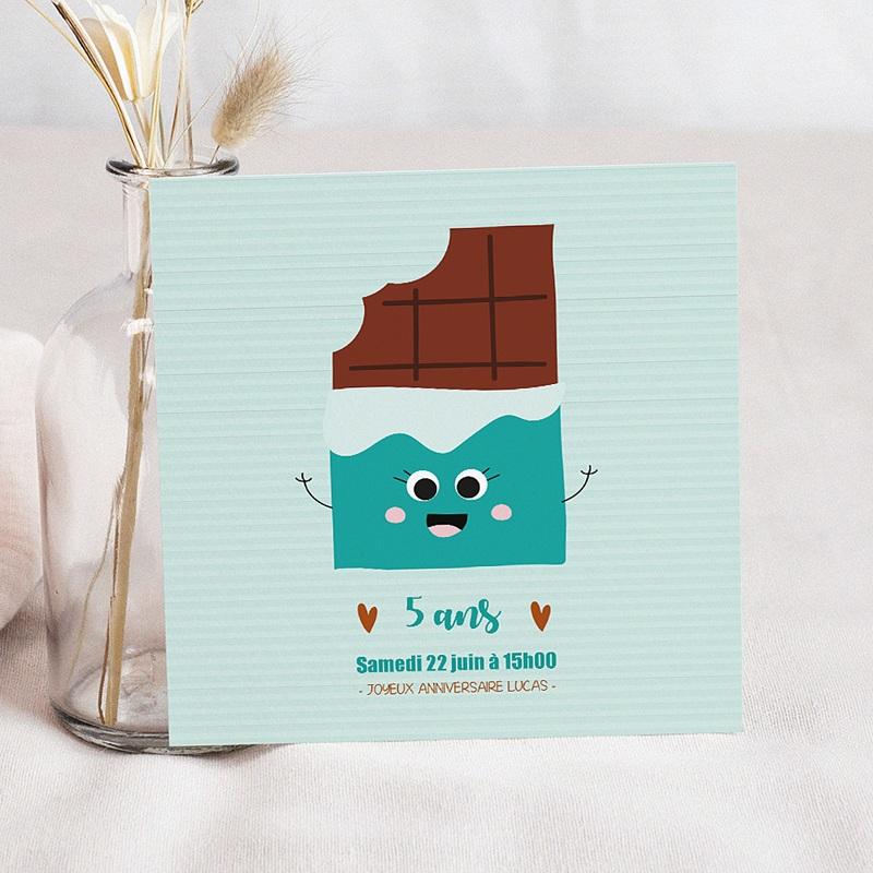 Carte Invitation Anniversaire Enfant Chocolat Show Carré