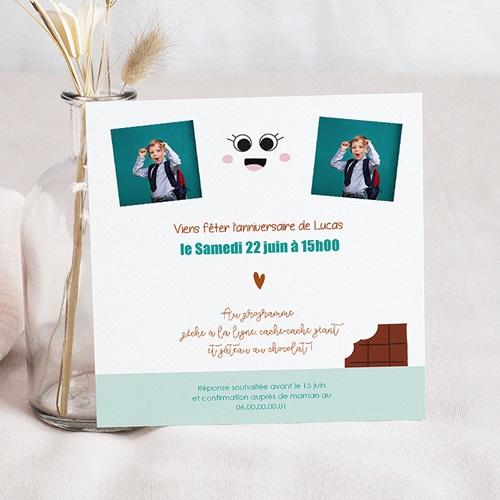 Carte Invitation Anniversaire Enfant Chocolat Show Carré pas cher