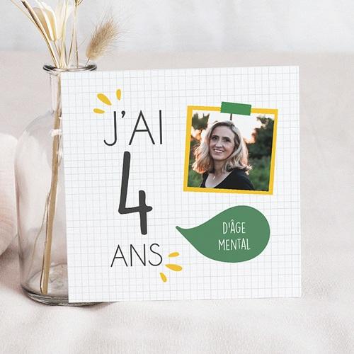 Carte invitation anniversaire adulte J'ai 4 ans !