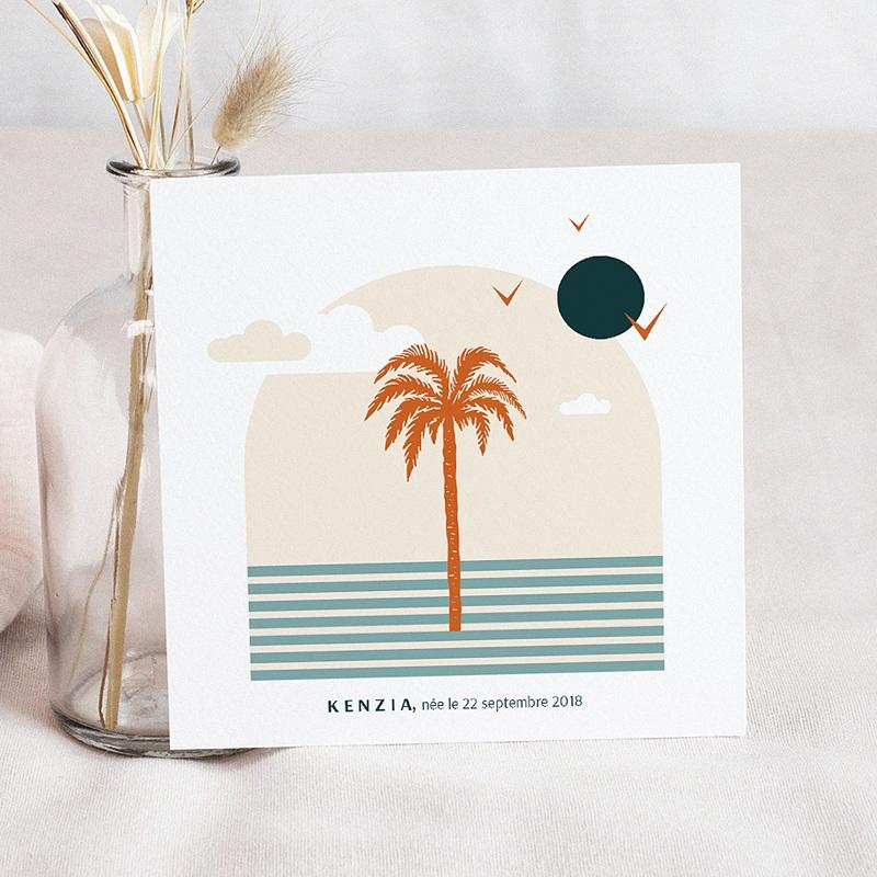 Faire-Part Adoption Fille Palmier Côte d'Azur Carré