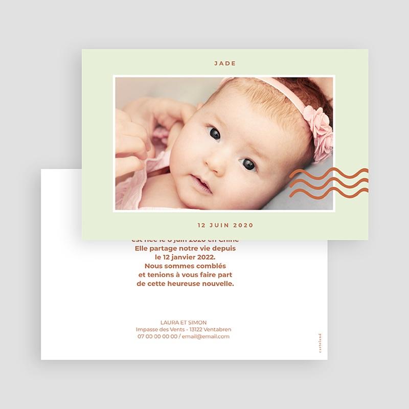Faire-Part Adoption Fille Vague de Bonheur gratuit