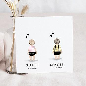 Faire-part naissance jumeaux personnalisable