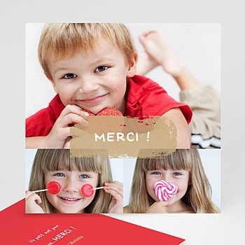 Cartes multi-photos 3 et + 3 photos - 1 bordure rouge personnalisable