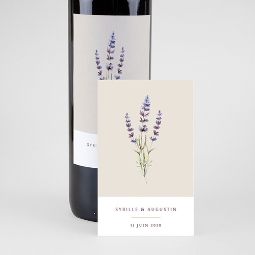 Étiquette bouteille mariage vin Bouquet de Lavande pas cher