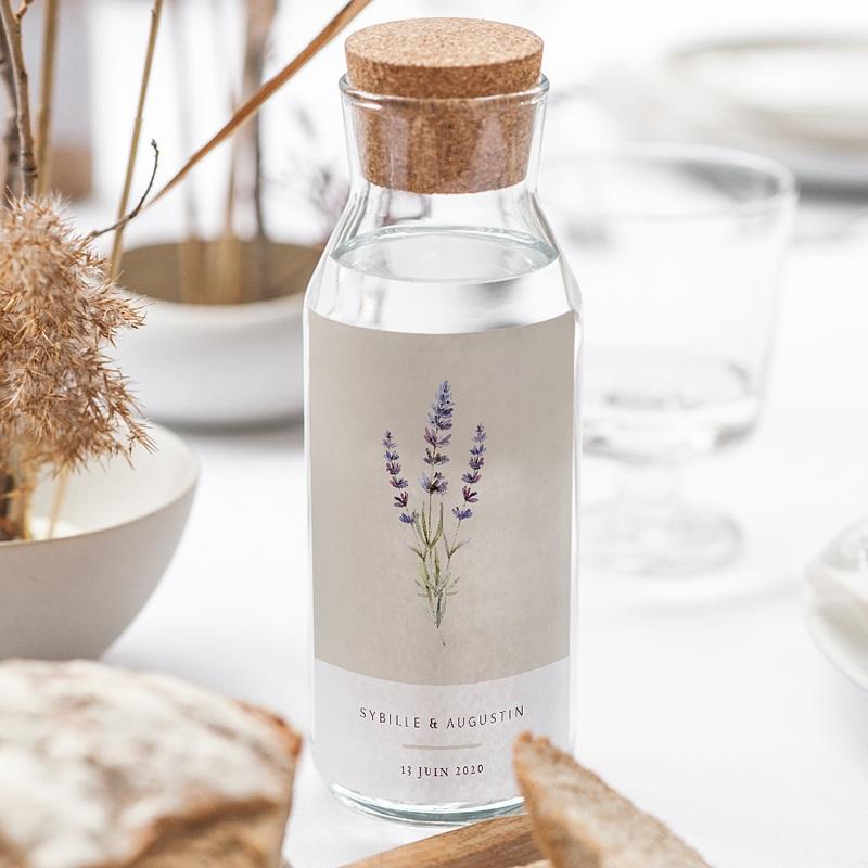 Étiquette bouteille mariage vin Bouquet de Lavande gratuit