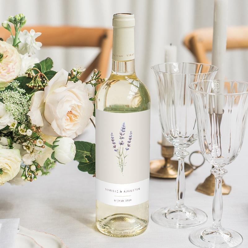 Étiquette bouteille mariage vin Bouquet de Lavande