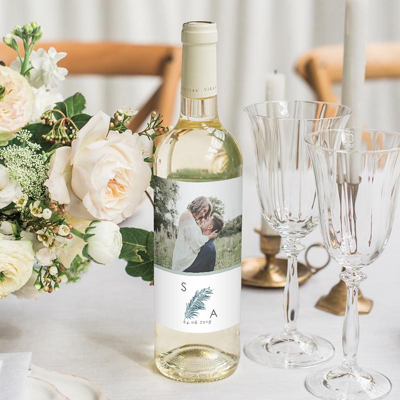 Étiquette bouteille mariage vin Inchyra blue