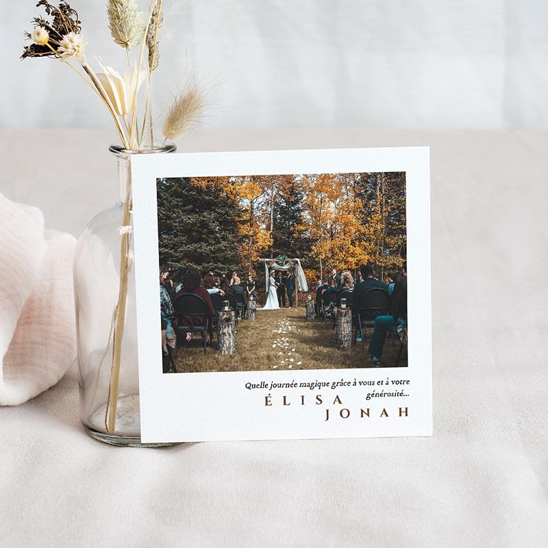 Carte Remerciement Mariage Photo Boisé, Photo, 10 x 10 pas cher