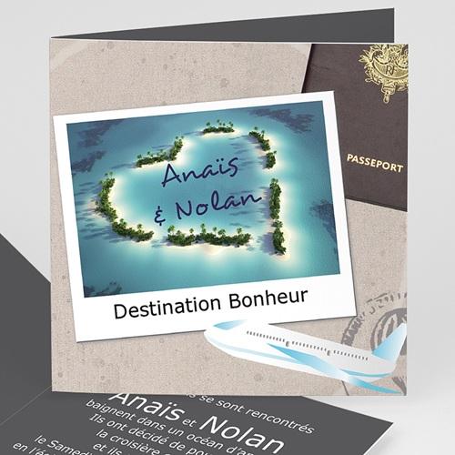 Tous les faire-part de Pacs Invitation au voyage billet avion passeport