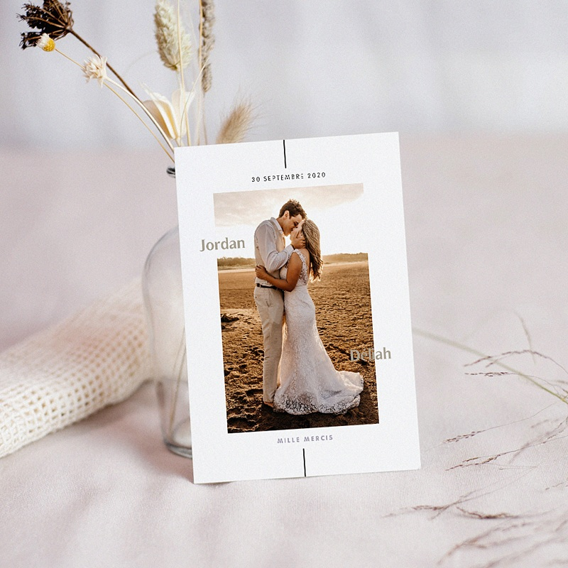 Carte Remerciement Mariage Photo Be Bold