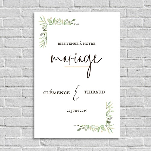 Panneau Bienvenue Mariage Cadre Feuillage