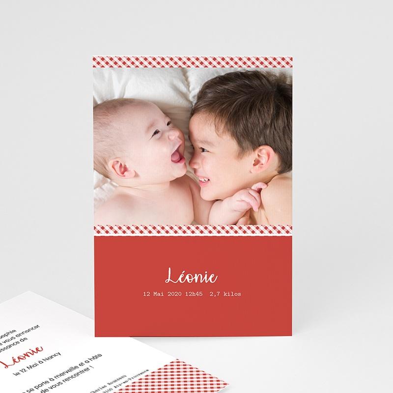 Faire-Part Naissance Fille - Vichy - Rouge et Blanc 8168 thumb