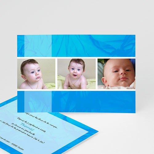 Faire-Part Naissance Garçon - Multiphotos - bleu 8172 thumb