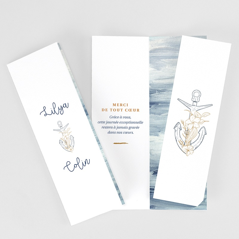 Carte Remerciement Mariage Voyage Côté Mer