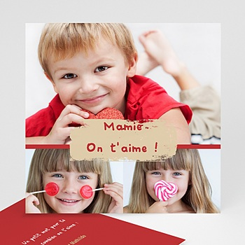 Cartes multi-photos 3 et + trio de photos - bordure rouge personnalisé