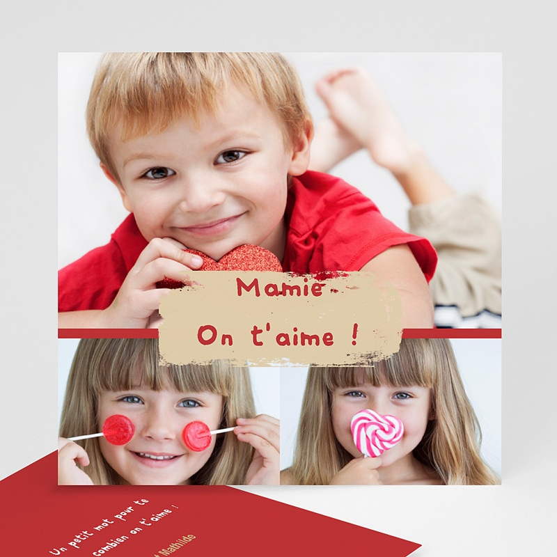 Carte personnalisée 3 photos et plus Trio de photos - Bordure rouge