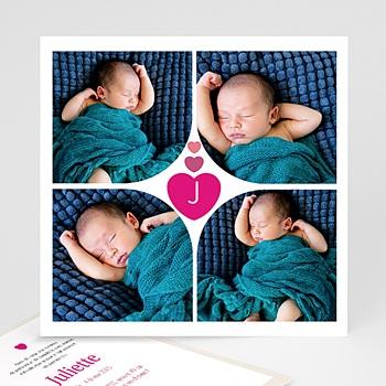 Faire part de naissance fille coeur fushia rose