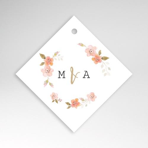 Etiquette Cadeau Mariage Rose Botanique