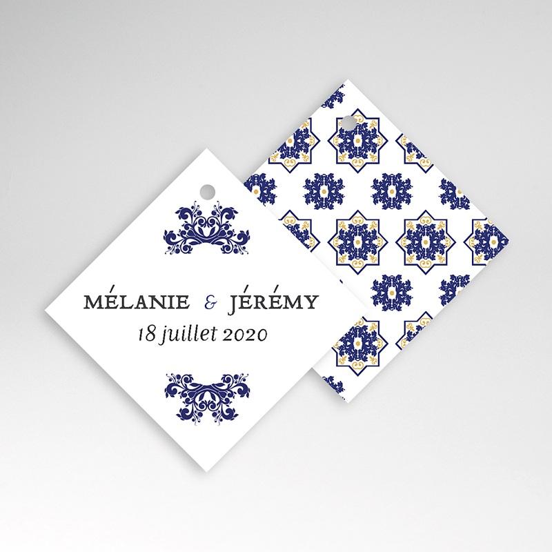 Etiquette Cadeau Mariage Bleu Ottoman pas cher