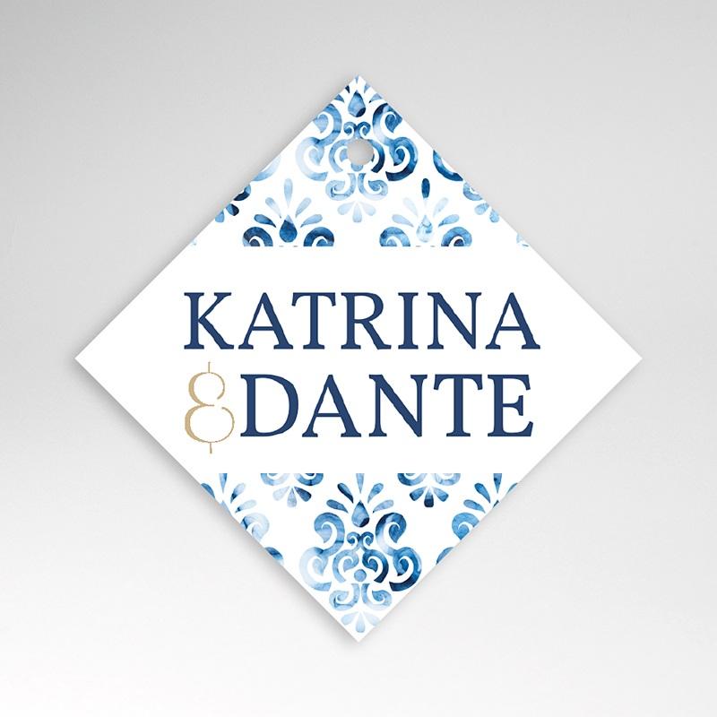 Etiquette Cadeau Mariage Azulejos Bleus