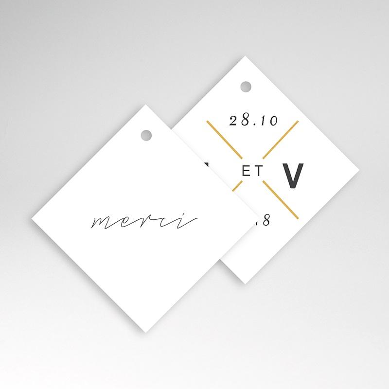 Etiquette Cadeau Mariage Minimaliste Gris & Or pas cher