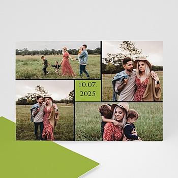 Carte personnalisée 3 photos et plus Bordure noire, carré vert