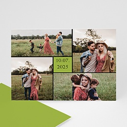 Faire-Part Multi-photo Bordure noire, carré vert