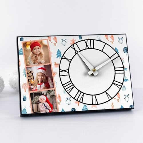 Horloge Personnalisée Photo rectangulaire, 3 photos, chiffres romains