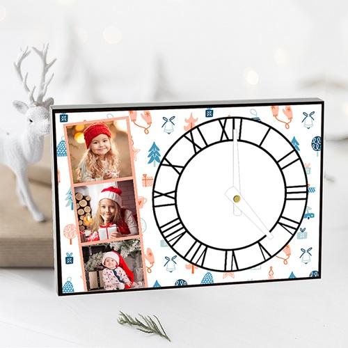 Horloge Personnalisée Photo rectangulaire, 3 photos, chiffres romains pas cher