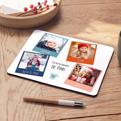 Tapis de souris Noël rectangulaire, quatre photos Noel