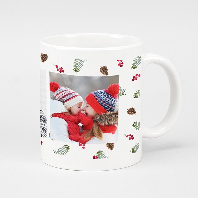 Mug Personnalisé Noël Photo, Forêt, Céramique Blanche