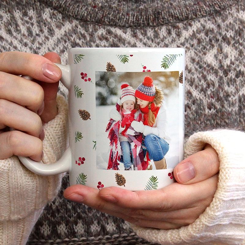 Mug Personnalisé Noël Photo, Forêt, Céramique Blanche gratuit