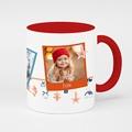 Mug Personnalisé Noël 3 photos, Anse rouge, céramique