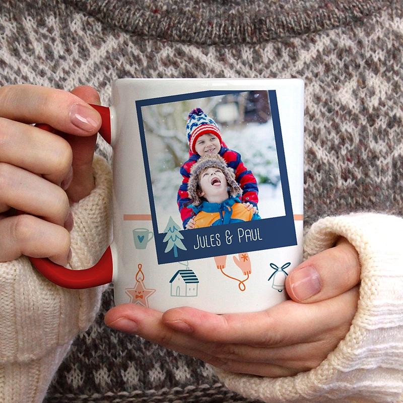 Mug Personnalisé Noël 3 photos, Anse rouge, céramique gratuit