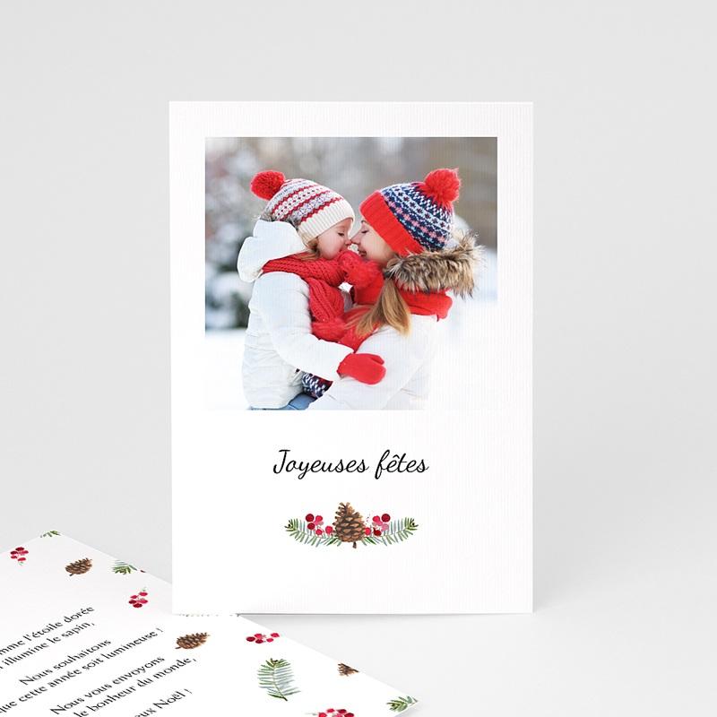 Carte de Voeux Joyeuses fêtes, rectangulaire, photo et forêt