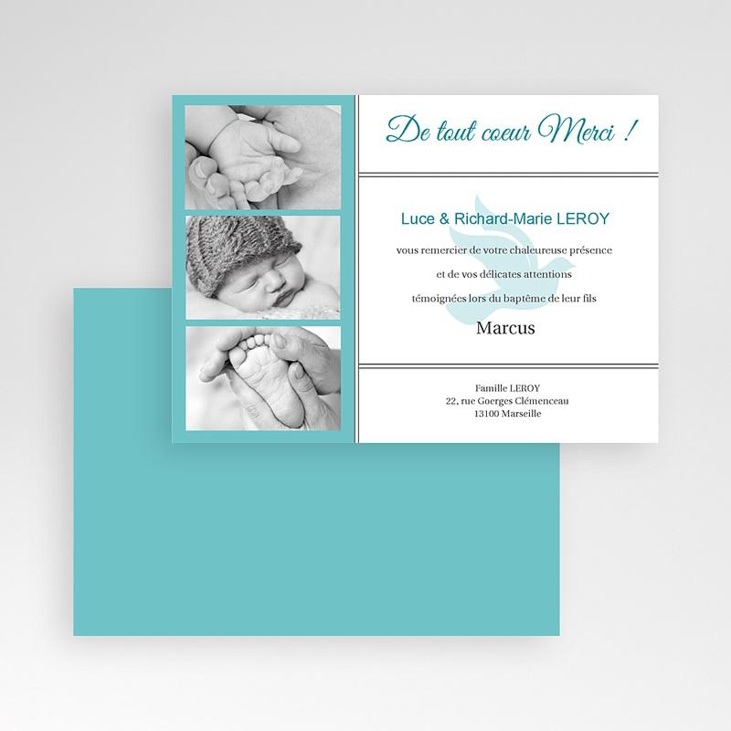 Carte Remerciement Baptême Garçon Triptyque bleu pas cher