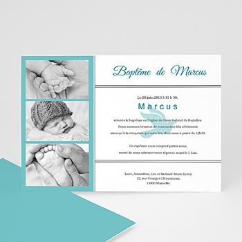 Faire-part Baptême Garçon - Triptyque bleu - 3