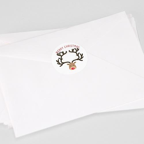 Etiquette Noël Sticker Cerf, Rond, Diam. 4,5 cm