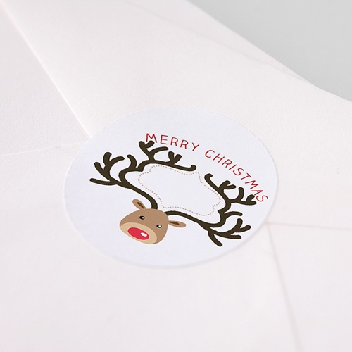 Etiquette Noël Sticker Cerf, Rond, Diam. 4,5 cm pas cher