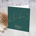 Carte de Voeux Entreprise Année scintillante, Finition Dorée, 2 volets 14x14