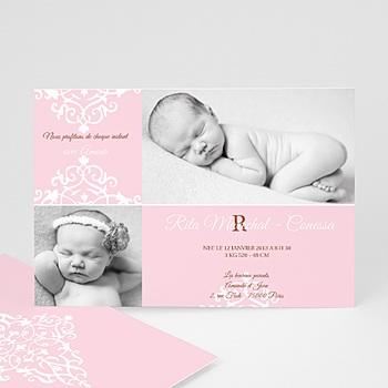 Faire part de naissance fille design royal - rose rose